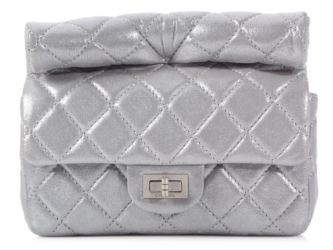Chanel Silver Leather Roll Reissue Clutch