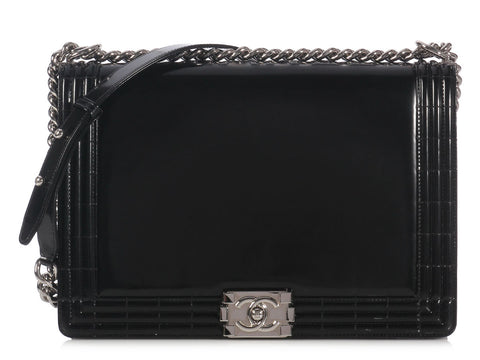 Chanel Large Black Patent Leather Boy