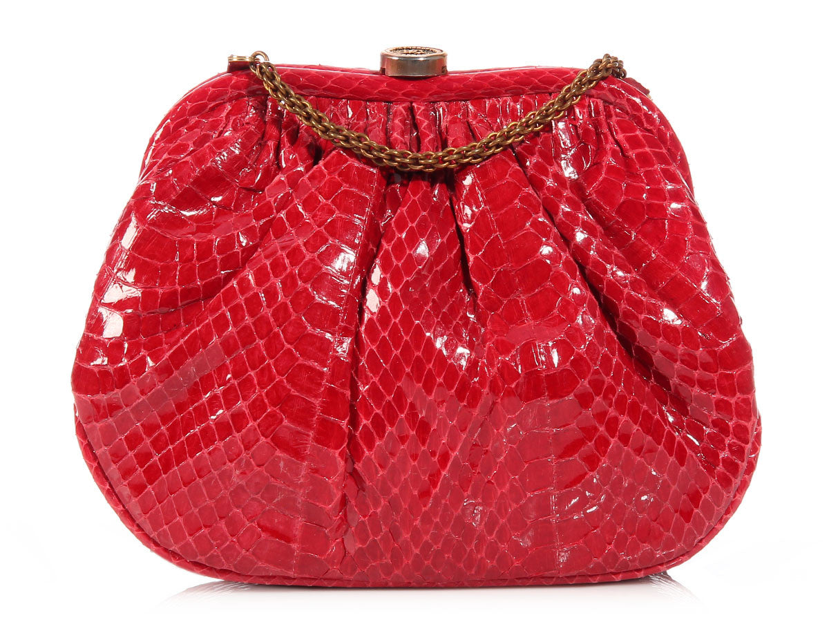 Chanel Small Red Snake Evening Bag