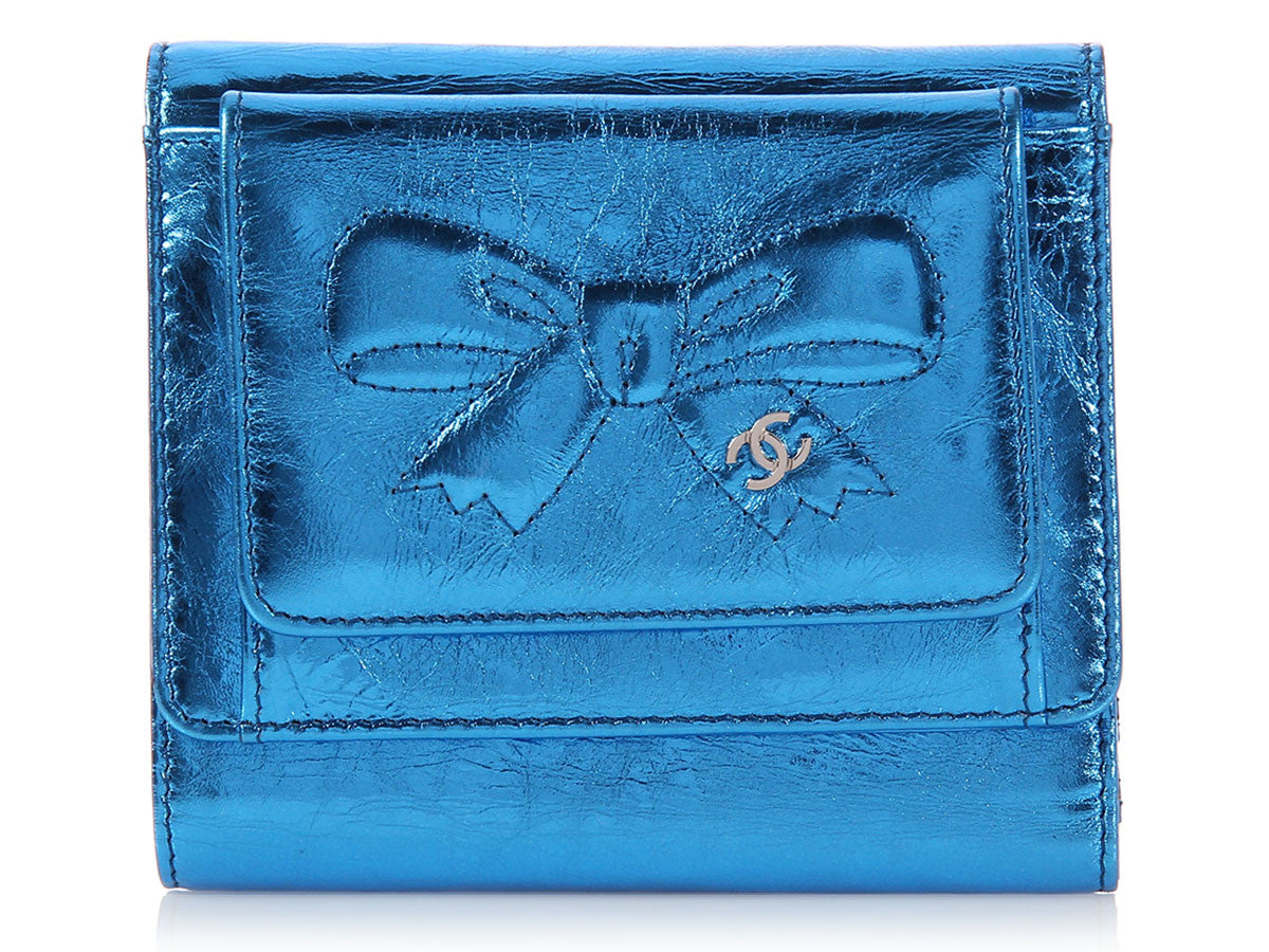 Chanel Metallic Blue Bow Wallet