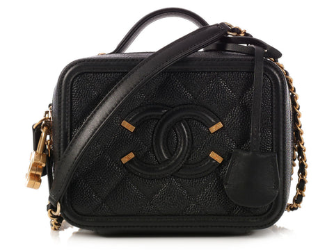 Chanel Black CC Filigree Mini Vanity Case
