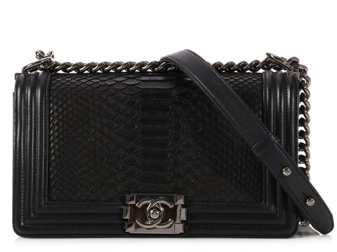 Chanel Old Medium Black Python Boy Bag