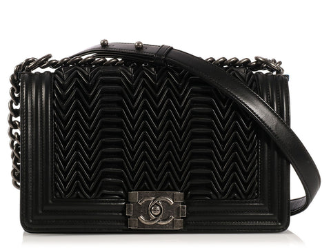 Chanel Medium Black Pleated Boy