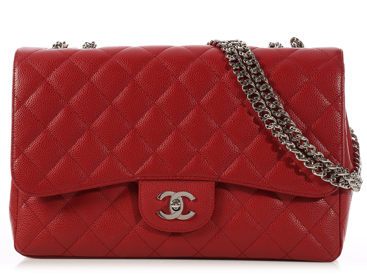 Chanel Red Jumbo Classic Single Flap