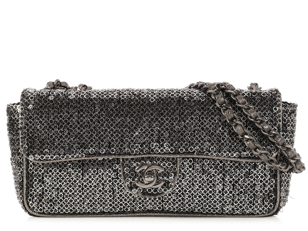 Chanel Dark Silver Sequin East/West Flap