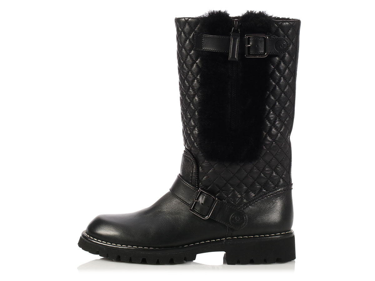 Chanel Black Quilted Fleece Lined Motorcycle Boots