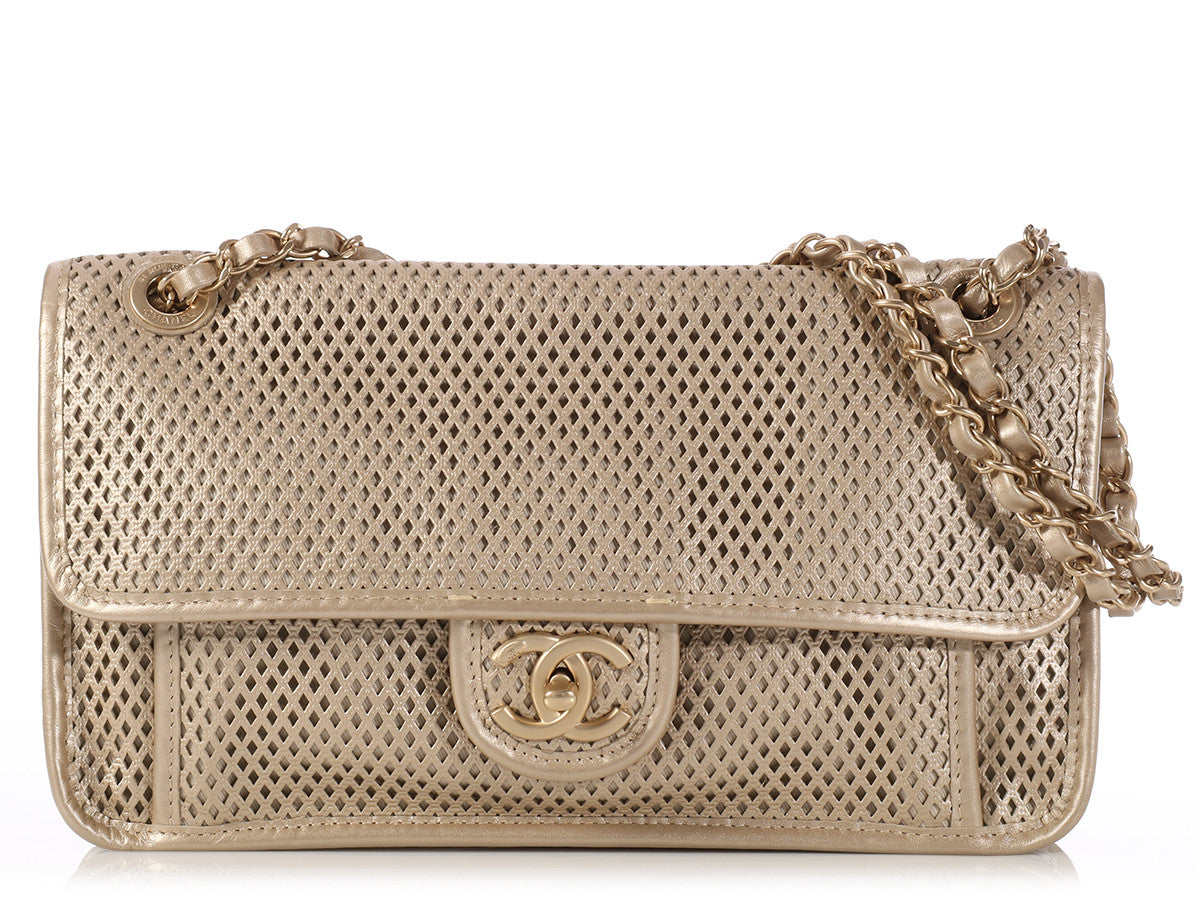 Chanel Gold Perforated Leather Flap