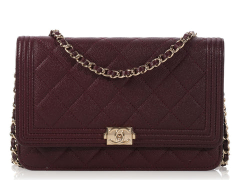 Chanel Dark Purple Boy Wallet on a Chain WOC
