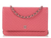 Chanel Pink Chevron Wallet on a Chain WOC
