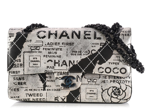 Chanel Silver and Black Newsprint Classic Double Flap