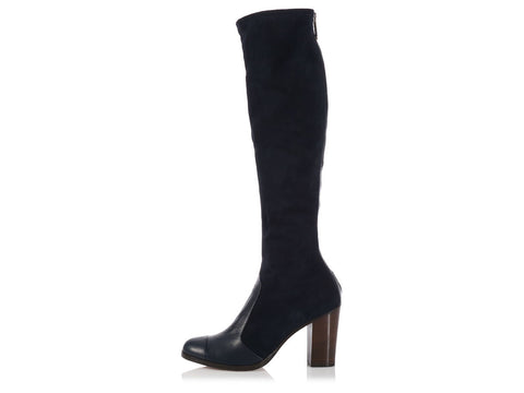 Chanel Tall Navy Suede Boots