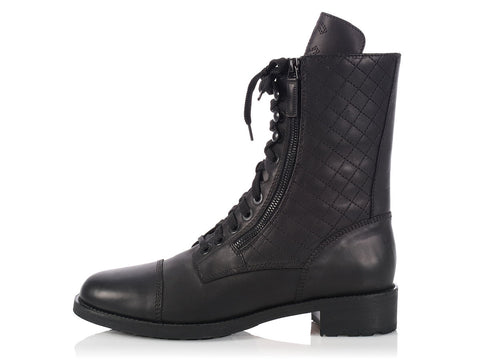 Chanel Black Quilted Combat Boots