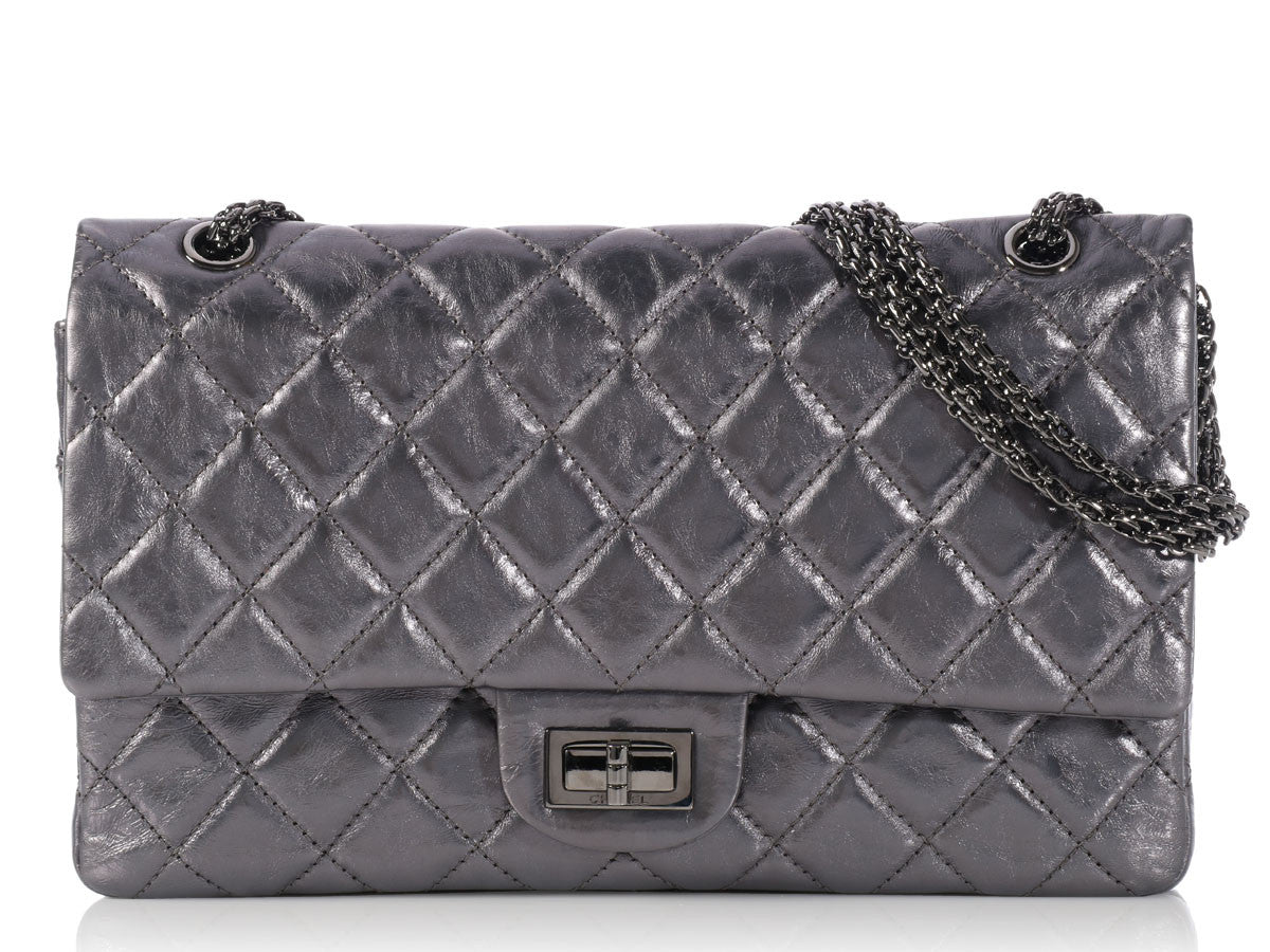 Chanel Dark Metallic Silver 227 Reissue Double Flap