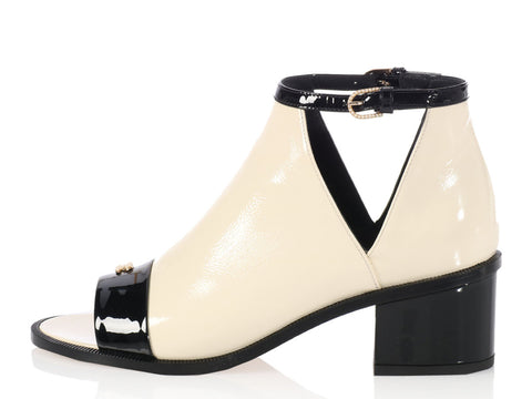 Chanel Black and Cream Open Toe Booties