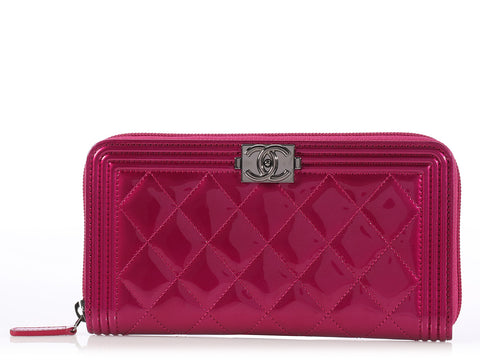 Chanel Fuchsia Patent Boy Wallet