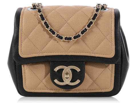 Chanel Beige and Black Crossbody Flap Bag