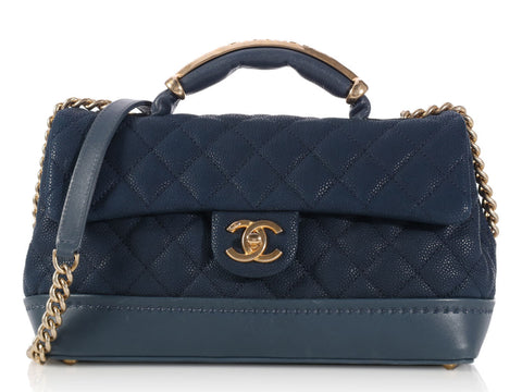 Chanel Medium Blue Globe Trotter Flap