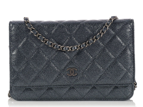 Chanel Iridescent Gray Wallet on a Chain