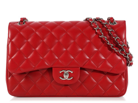 Chanel Red Jumbo Double Flap Classic