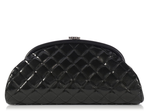 Chanel Black Striped Patent Timeless Clutch
