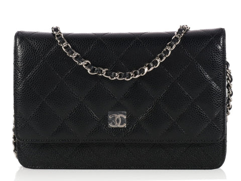 Chanel Black Caviar Wallet on a Chain WOC