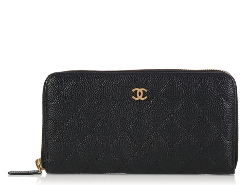 Chanel Large Black Zip Around Wallet