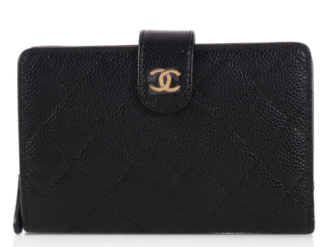 Chanel Black Caviar L-Zip Wallet