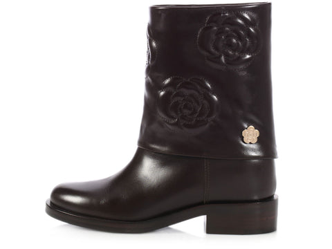 Chanel Brown Camellia Ankle Boots