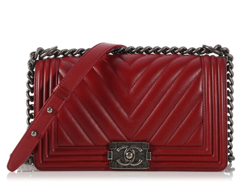 Chanel Red Chevron Old Medium Boy Bag