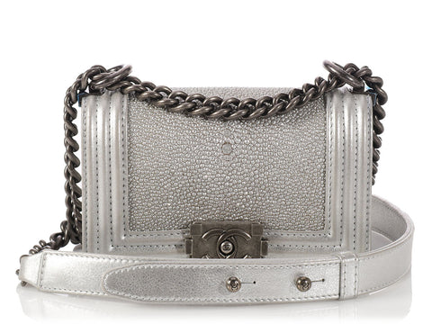 Chanel Small Silver Shagreen Boy Bag