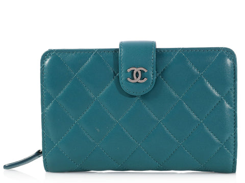 Chanel Teal L-Zip Wallet