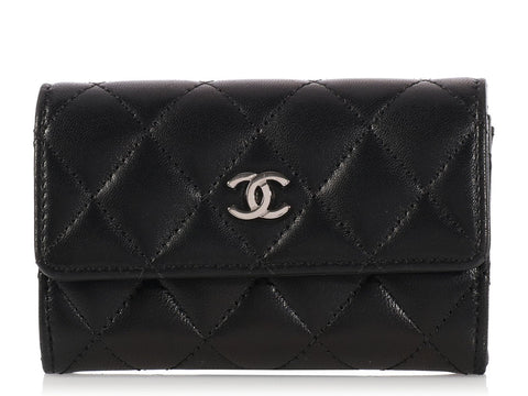 Chanel Black Flap Card Case
