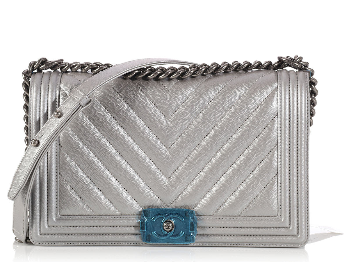 Chanel New Medium Silver Chevron Boy