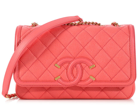 Chanel Small Coral CC Filagree Flap Bag