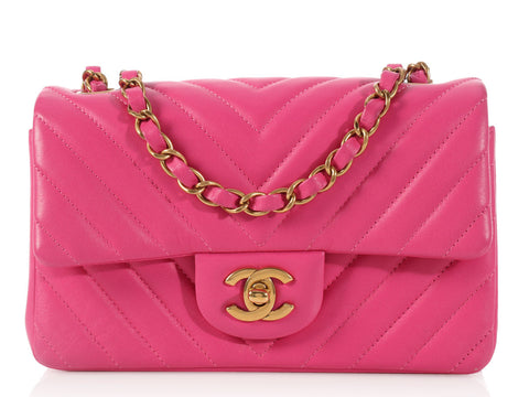 Chanel Pink Chevron Mini Classic