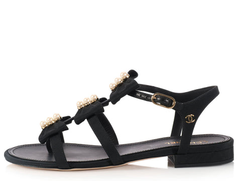Chanel Pearl Bow Sandals