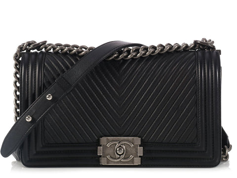 Chanel Old Medium Black Chevron Boy