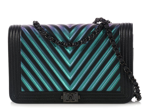 Chanel So Black Iridescent Wallet on a Chain WOC