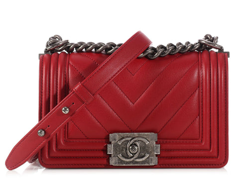 Chanel Small Red Chevron Boy