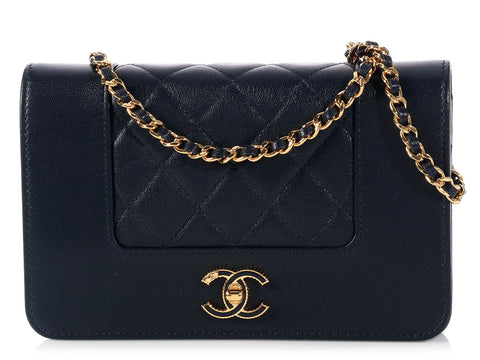 Chanel Navy Wallet on a Chain WOC