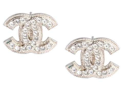 Chanel Medium Crystal Logo Earrings