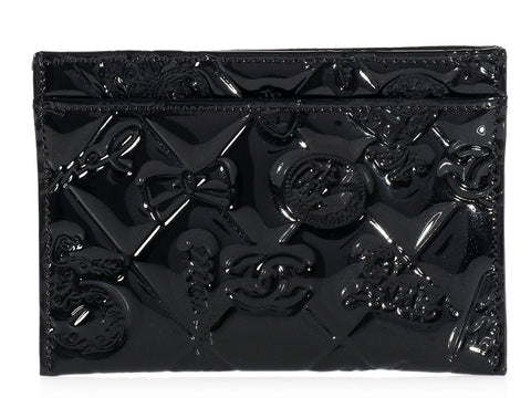 Chanel Black Patent Symbols Card Case