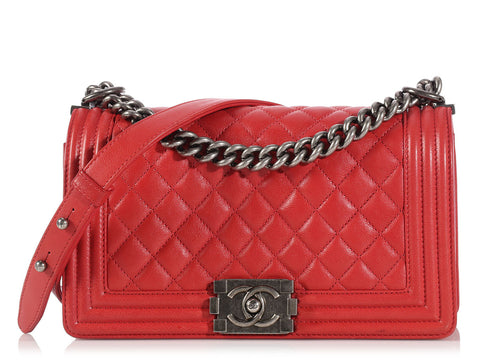Chanel Red Old Medium Boy