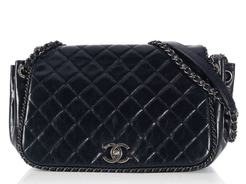 Chanel Dark Blue Medium Chain Around Bag