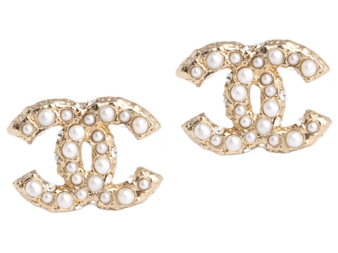 Chanel Pearl Logo Earrings