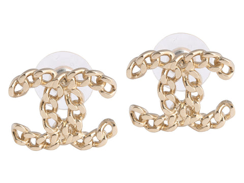 Chanel Large Logo Chain Earrings
