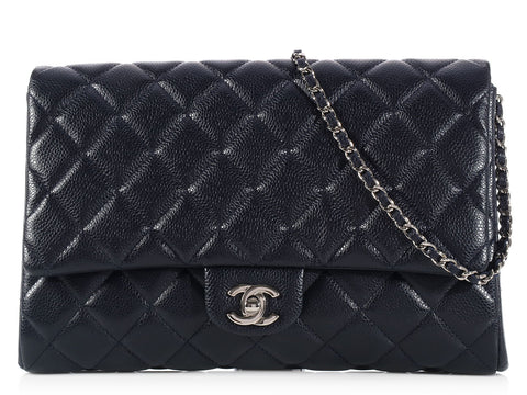 Chanel Dark Purple Clutch with Chain