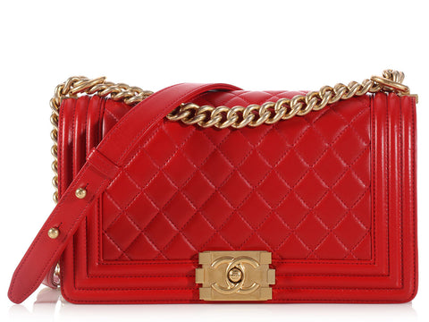 Chanel Old Medium Red Boy Bag