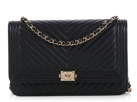 Chanel Black Chevron Boy Wallet on a Chain WOC