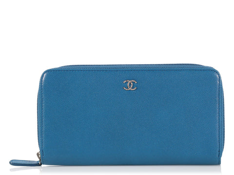 Chanel Blue Zip Around Wallet